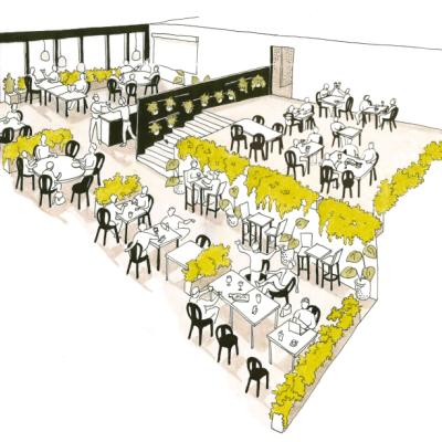 Le bar/restaurant proposera des produits locaux de qualité, dont la majeure partie aura poussé sur le toit.