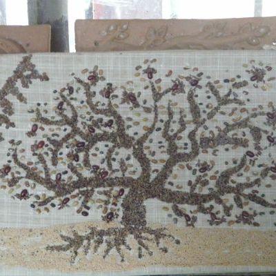 Un tableau fait de graines